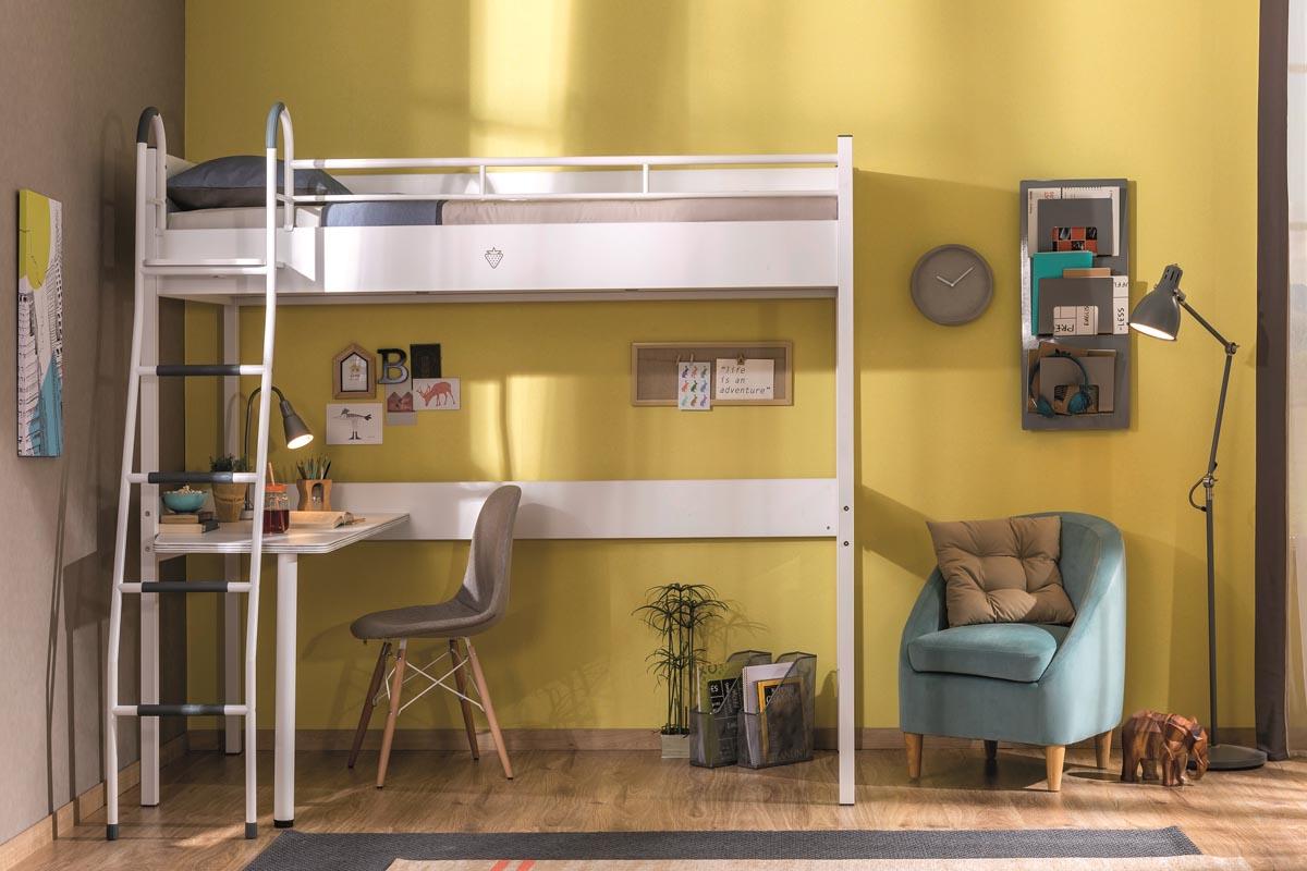 Υπερυψωμένο κρεβάτι με γραφείο white